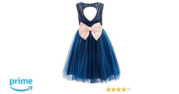 870018069 Amazon.com: Dresslane Navy Blue Lace Tulle Keyhole Back Flower Girl Dress  Kids Dress: Clothing