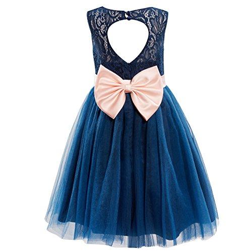 - Dresslane Navy Blue Lace Tulle Keyhole Back Flower Girl Dress Kids Dress