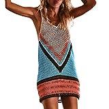 TOTOD Women Sexy Crochet Sleeveless Beach Cover up Fishnet Sarong Wrap Bikini Cover Handmade Swimwear Smock (M, Multicolor)