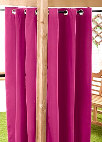 Pink Water Resistant Ready Made Outdoor Eyelet Curtain 55