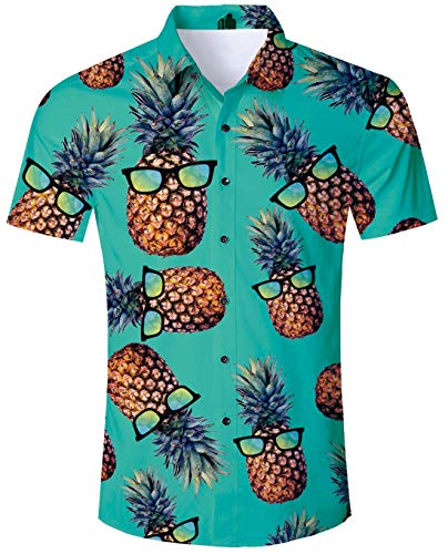 Pineapple Shirts for Men Funny Hawaiian Shirt 90s Awesome Pineapple Wear Glasses Pattern Funny Short Sleeve Shirt Beach Holiday Casual Aloha Floral Summer Holiday Fancy Dress Hawaii ()