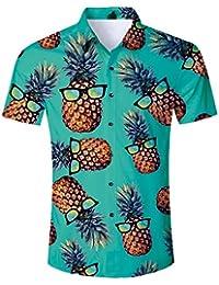 320b75618c8 Men s Hawaiian Shirt 3D Tropical Summer Aloha Short Sleeve Button Down Shirt