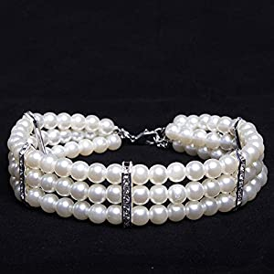 """PetFavorites Fancy 3 Row Pearls Diamond Dog Necklace Collar Jewelry with Bling Rhinestones for Pets Cats Small Dogs Girl Teacup Chihuahua Yorkie Clothes Costume Outfits (White, Neck Size: 8""""-10"""")"""