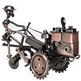 Amperer Collectible Art Sculpture Handmade Metal Motorcycle Tractor Model Creative Office Desktop Accessories Decor The Motorcycle Loves Artwork (B1 Copper)