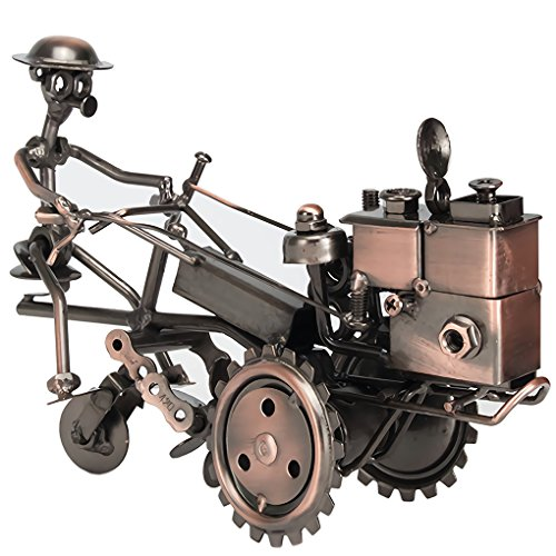 (Amperer Collectible Art Sculpture Handmade Metal Motorcycle Tractor Model Creative Office Desktop Accessories Decor The Motorcycle Loves Artwork (B1 Copper))