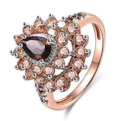 Women's Ring Teardrop Created Smoke CrystalRhodium Rose Gold Plated Rings Engagement Jewelry Size 5-10