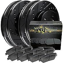 Fits Toyota Sequoia Front Rear Black Drill Slot Brake Rotors+Ceramic Brake Pads
