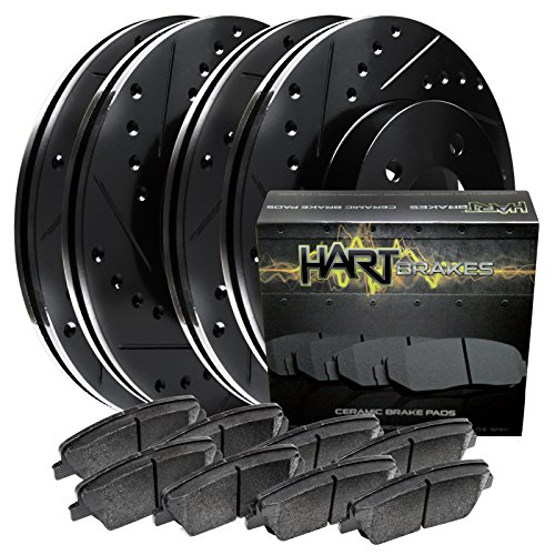 Fits Nissan 300ZX Front Rear Black Drill Slot Brake Rotors+Ceramic Brake Pads