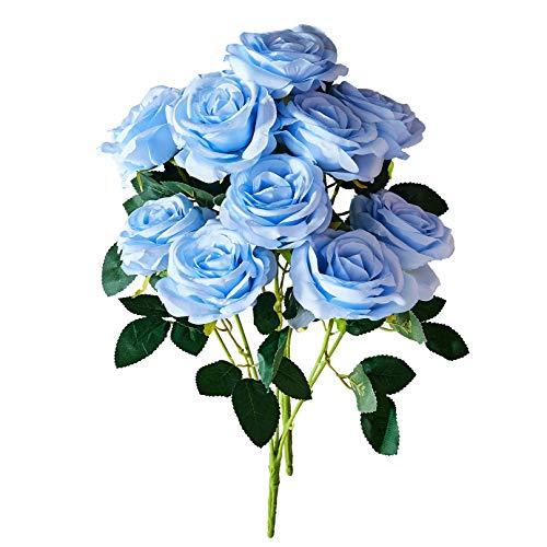 Light Blue Roses - Kislohum Blue Artificial Flowers Roses Fake Blue Silk Roses for Home Decor DIY Wedding Bridal Bouquets Centerpieces Arrangements Baby Shower Flower Decoration-2 Bunches