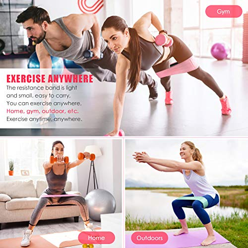 COOBONS Resistance Exercise Bands for Legs and Butt, Hip Bands Booty Bands Wide Workout Bands Resistance Loop Bands Anti Slip Circle Fitness Band Elastic Sports Bands(2019 Upgraded) (Pink)