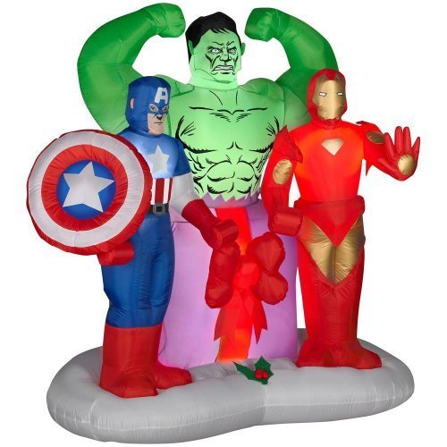 Gemmy Airblown Inflatable Marvel Avengers Assemble Christmas Scene - Indoor Outdoor Holiday Decoration, 6-foot Tall