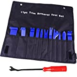 12 Pcs Auto Upholstery Tools, Strong Nylon Door Molding Dash Panel Trim Tool Kit, Durable Nylon Storage Bag - Blue