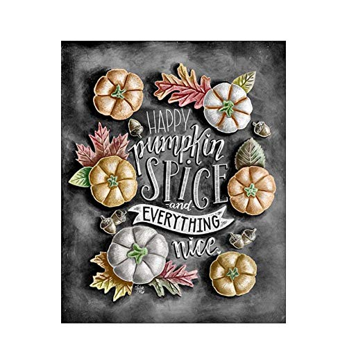 (5D Diy Diamond Painting Kits, Full Drill Paint With Diamonds Kits 7.9 X 9.8 Inches, Happy Pumpkin Spice And Everything Nice(Frameless))