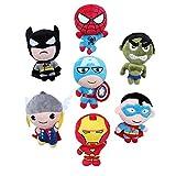 JUICE Plush Toys Dolls Marvel's the Avenger Cute Batman Spiderman Captain America Hawkeye Thor Superman Hulk 7pcs Set