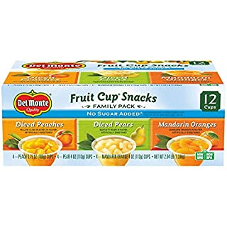 Del Monte No Sugar Added Variety Fruit Cups (Peaches, Pears, Pineapples), 4-Ounce