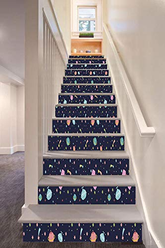 (Space 3D Stair Riser Stickers Removable Wall Murals Stickers,Alien Planets with Shooting Stars and Polka Dots Galaxy Heavenly Bodies Asteroid,for Home Decor 39.3