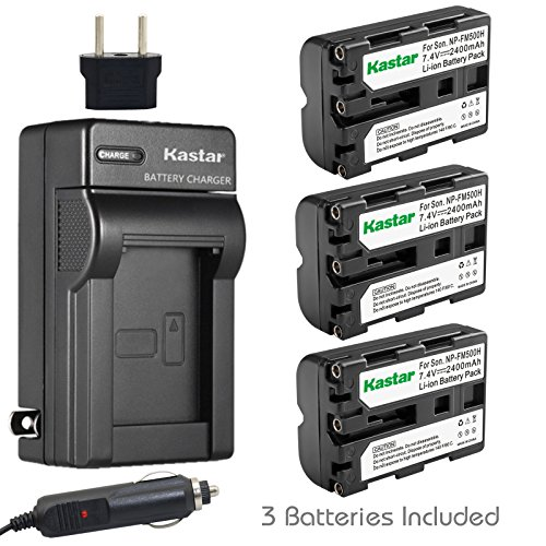 Kastar Battery (3-Pack) and Charger for Sony NP-FM500H and DSLR-A100, A200, A300, A350, A450, A500, A550, A560, A580, A700, A850, A900, Alpha SLT A57, A58, A65, A77, A77M2, A99, A99V, CLM-V55 by Kastar