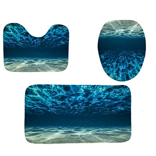 Weiliru 2019 New 3PCS Soft Bath Rug Set for Bathroom Non Slip Bath Mat, Contour Mat & Toilet Lid Cover -