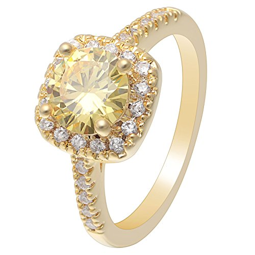 UFOORO Women Fashion Ring Jewelry Gold Color Plated Claw Setting Stunning Yellow Oval Cubic Zirconia Décor Engegement Ring in Size 10 - 10 Oval Mens Ring Setting