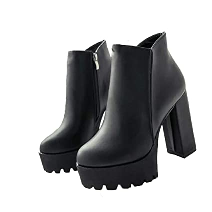 9698f86ed08c9 Amazon.com: Yaloee High Heels Ankle Boots for Woman Round Toe Thick ...
