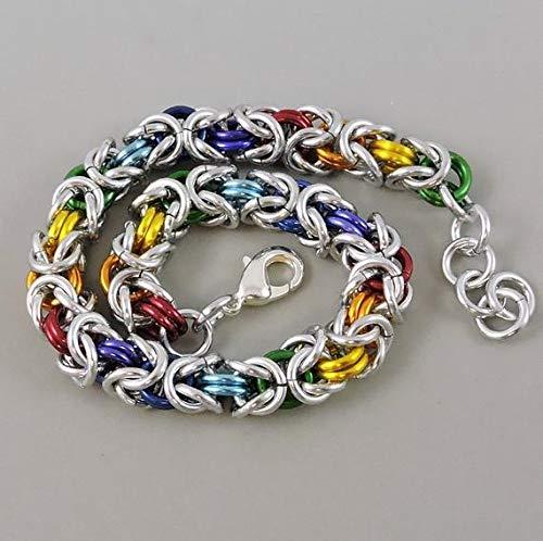 Weave Byzantine Bracelet - Rainbow Chainmail Bracelet, Chainmaille Bracelet, Byzantine Weave