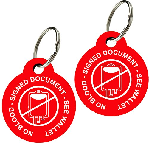 CNATTAGS Jehovah's Witness No Blood Tags, No Blood Keychain Doubled Sided, Premium Aluminum (Set of 2) (English Non Personalized, Round)]()