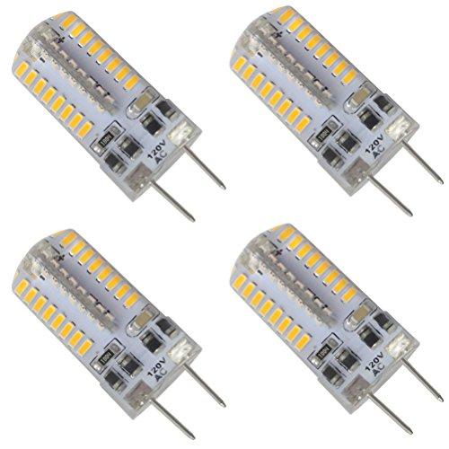 Dayker 3W G8 LED Bulb Dimmable T4 Jc Type AC 100-120V G8 Bi-pin Base Lightbulb Warm White for Puck Lighting, Closet Lights, Under Cabinet Lighting(4 - T4 Type