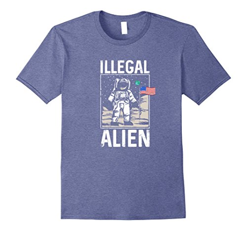 Mens Illegal Alien Astronaut on the Moon Funny T Shirt Large Heather Blue