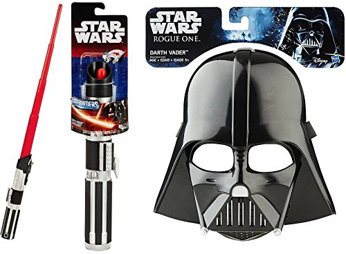 Darth Vader Mask Star Wars: Rogue One & A New Hope Darth Vader Extendable Red Lightsaber Action Combo Dress Up Pack