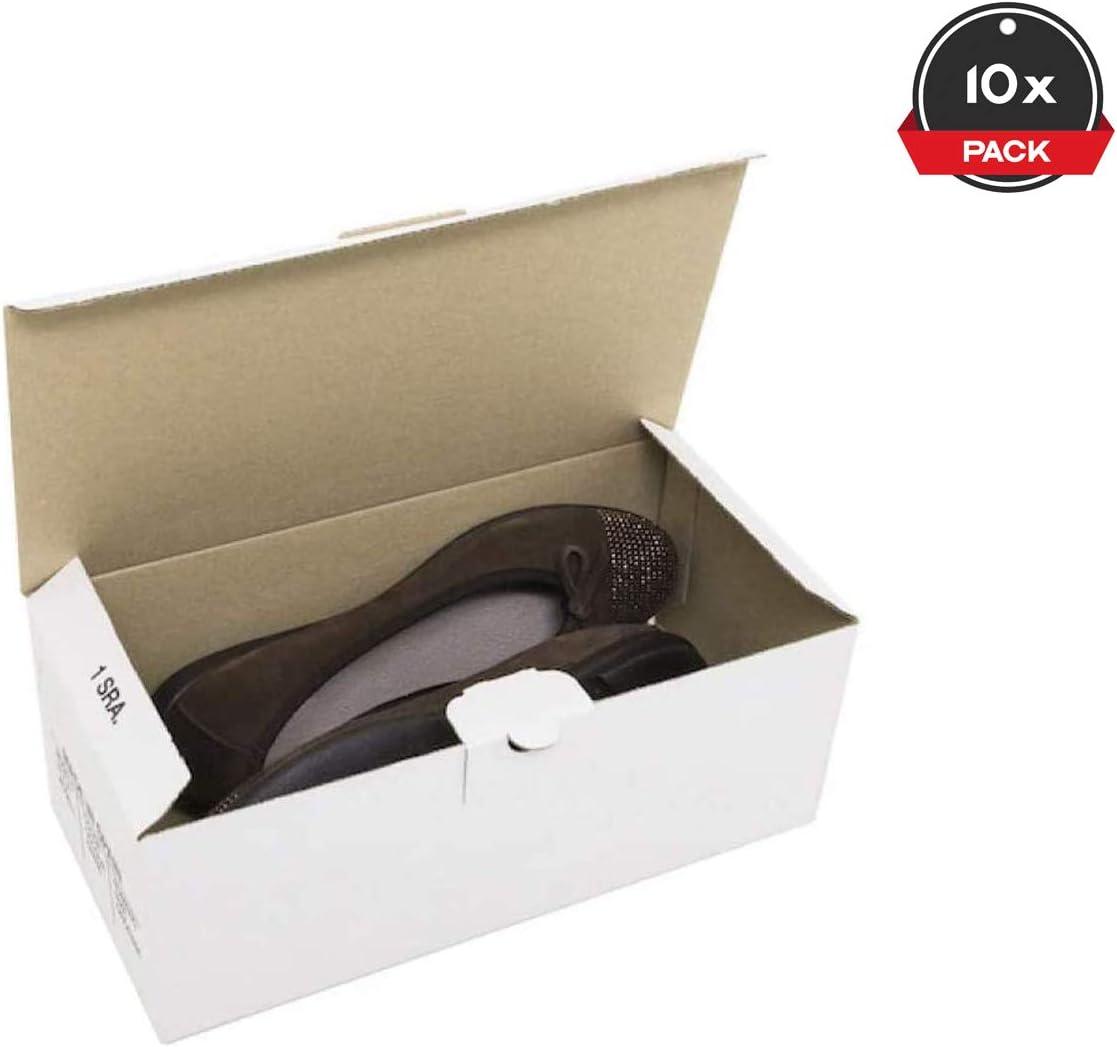 Cajeando | Pack de 10 Cajas de Cartón Automontables para Zapatos | Tamaño 28 x 13,8 x 10 cm | Zapatero Apilable y Ordenación de Sneakers o Zapatillas | Guarda Zapatos | Color Blanco: Amazon.es: Oficina y papelería