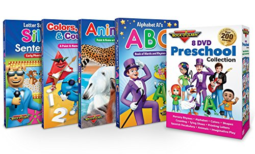Preschool 8 DVD & 4 Board Book Set by Rock N Learn - Nursery Rhymes, Alphabet, Colors, Shapes, Counting, Tying Shoes, Printing Letters, Spanish Vocabulary, Animals, Imaginative Play and much more by ROCK N LEARN