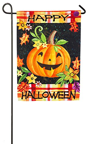 Evergreen Happy Jack-O-Lantern Suede Garden Flag, 12.5 x 18 (Halloween Season Of The Witch Review)