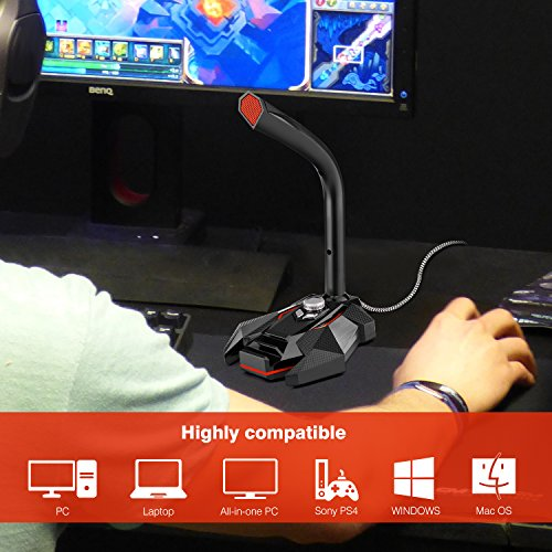 FerBuee USB Desktop Condenser Microphone for PS4 Gaming, Online Chatting, Recording, Streaming, YouTube, Podcast, PC MIC Plug & Play with Windows/Mac, Built with LED Indicator (GK10-Red) by FerBuee (Image #1)