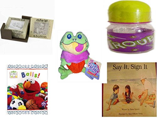 Children's Gift Bundle - Ages 0-2 [5 Piece] - Glass Photo Coasters - ID Gear Baby Bottle Trouble 4 oz - Cupcake Cuties Sugar Loaf Plush Stuffed Baking Pastry Funny Frog Doll 10