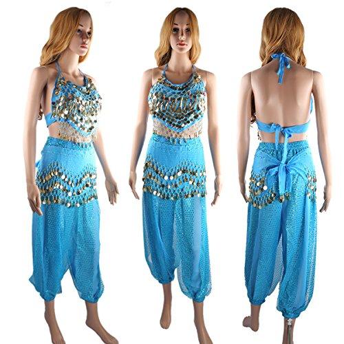 en suspendues pieces Blue mousseline Femmes Bandage taille Pantalons Belly des SymbolLife danse ceinture Bells Lake et Avec indienne soie Haut Pad short de Chest de BqIgx