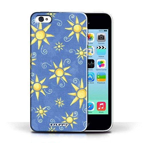 Etui pour Apple iPhone 5C / Bleu/Jaune conception / Collection de Motif Soleil