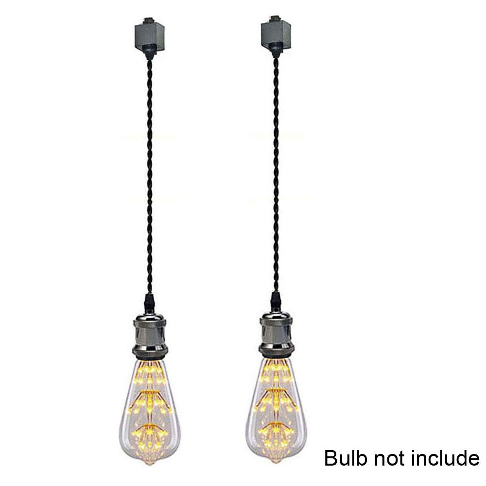 Kiven Set of 2 H Type Track Lighting Mini Pendant Black Finish with 11.8 inch Braided Cord. by Kiven (Image #1)