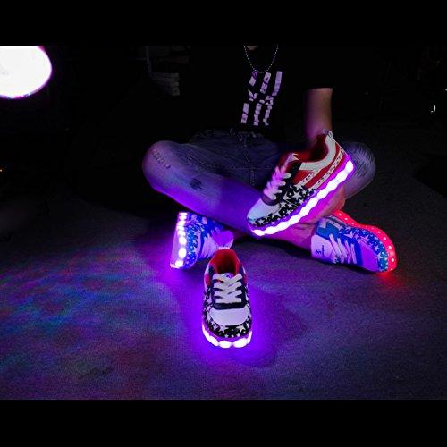 Angin-Tech Serie de Adultos Zapatillas LED USB de Carga de 7 Colores de Luz Zapatillas con Luces del Zapato por la Fiesta de Baile de Navidad de San Valentín con el CE Certificado Rojo Estrella