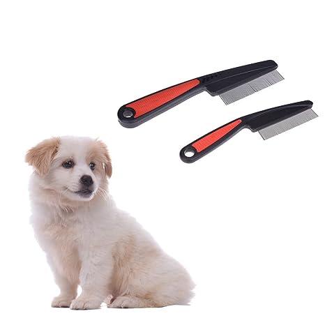 SODIAL Peine de Perro Mascota Quitar Las pulgas piojos Peine de Acero Inoxidable Herramienta de cosmetologia de Pelo de Gato Perro para Perros y Gatos ...