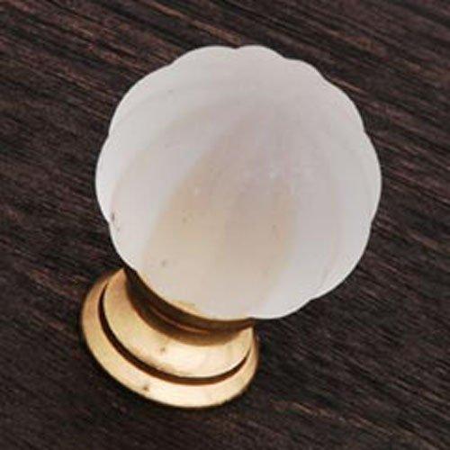 RK International RKI R.K. International CK 1G Smoked Glass Flower Knob, Polished Brass,