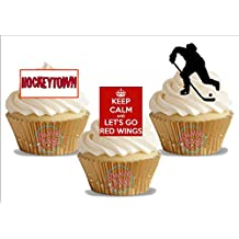 Ice Hockey Detroit Red Wings Trio Mix- Fun Novelty Birthday PREMIUM STAND UP Edible Wafer Card Cake Toppers Decoration