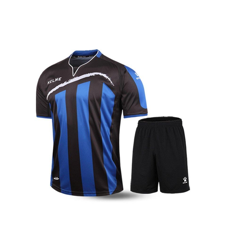 Kelme半袖サッカースポーツストライプUniform B01ELAC5YS Medium|ブラック/ブルー ブラック/ブルー Medium