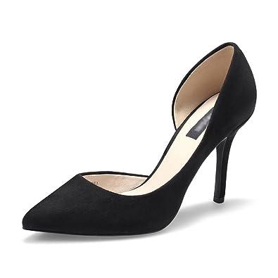 MHSXN Ladys Mode Pompes Mariage Stiletto Pointu Chaussures Lady Confortable Noir Chaussures de Soirée,Black-38