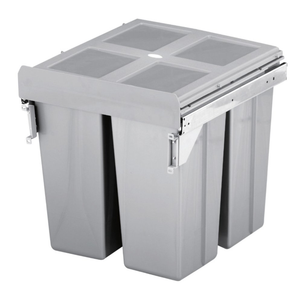 HILBRI 68 Litre Kitchen Cupboard Door Fixing Pull Out Waste Bin To ...