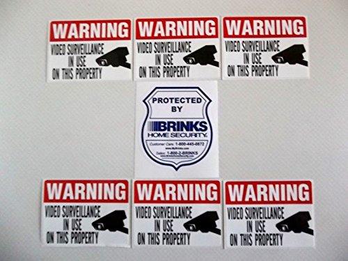 BRINKS Shield Shaped Video Surveillance Stickers - Waterproo