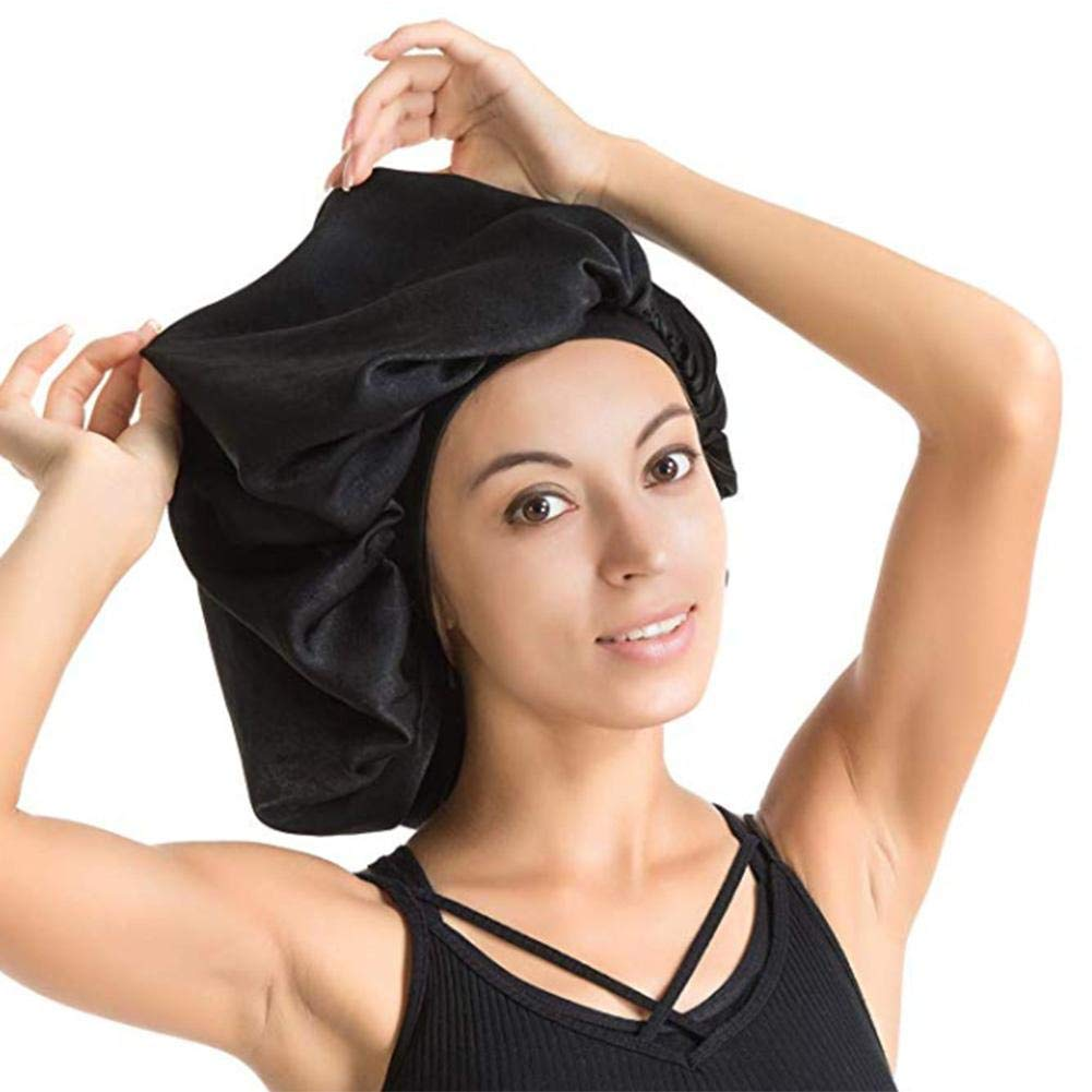bulrusely Sleepy Hat Oversized Waterproof Shower Cap Female Hair Care Protect Hair Big Satin Silk Bonnet Sleepy Hat Luxurious Fabric Premium Rubber Band