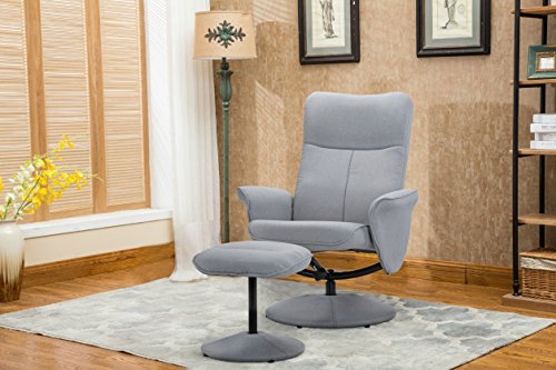 DIVANO ROMA FURNITURE Modern Office Fabric Chair with Footstool, Swivel Office Chair, Gaming Chair (Light Grey)