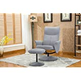 Fabric Modern Swivel Office Chair/Gaming Chair with Recliner and Footstool light grey