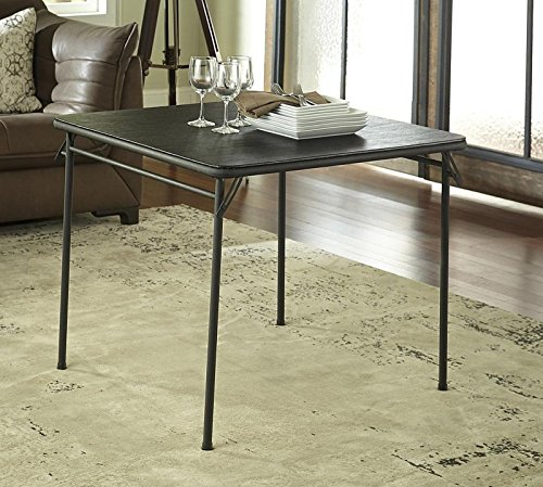 Square Vinyl Top Folding Dining or Card Table 34-Inch