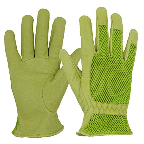 HANDLANDY Leather Gardening Gloves for Women, 3D Mesh Comfort Fit- Improves Dexterity and Breathability, Pigskin Scratch Resistance Garden Working Gloves for Vegetable or Pruning Roses (Small, Green)